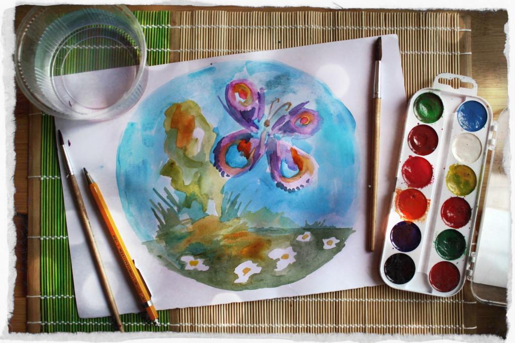 Рисунок и краски1свет-рамка4
